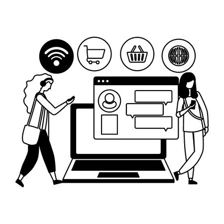 women using cellphone online shop laptop chatting vector illustration