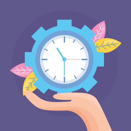 hand holding clock gear work vector illustration