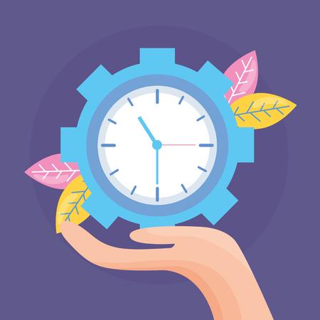 main tenant horloge engrenage travail illustration vectorielle