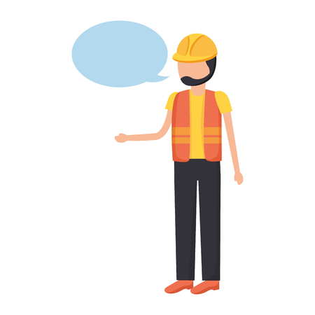 worker construction talking speech bubble vector illustration Archivio Fotografico - 124247657