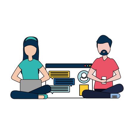 couple with smartphone and social network profile vector illustration desing Stock Illustratie