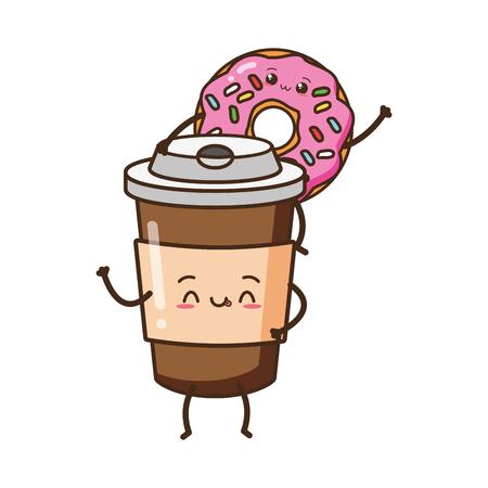 kawaii donut coffee cup fast food cartoon vector illustration