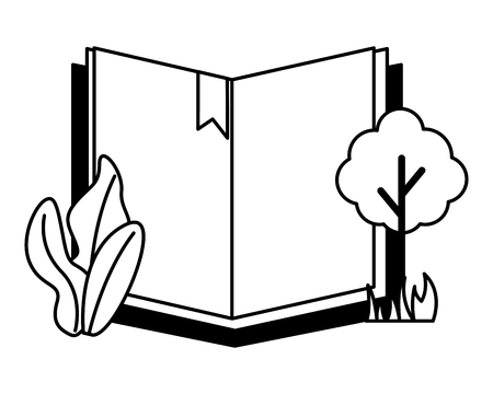 open book tree plant on white background vector illustration