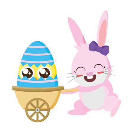 beautiful rabbit with chick in wheelbarrow easter character vector illustration design