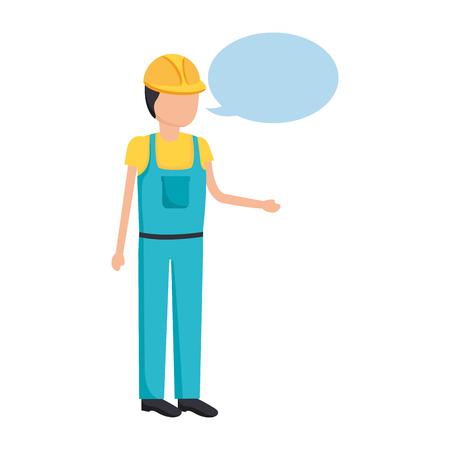 worker construction talking speech bubble vector illustration Vetores