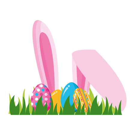 happy easter eggs ears grass vector illustration