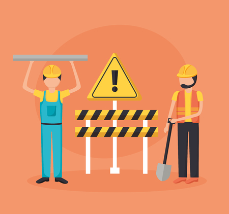 worker construction equipment shovel barrier vector illustration
