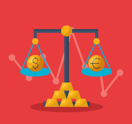 solde argent dollar euro marché boursier financier illustration vectorielle