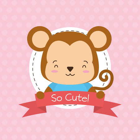 cute monkey animal cartoon sticker vector illustration design Illustration