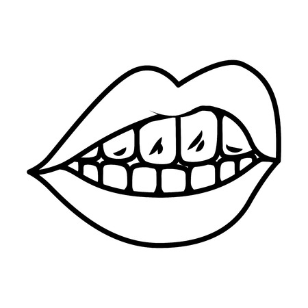 female mouth isolated icon vector illustration design Banque d'images - 119564028