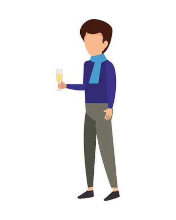 man lifting champagne cup vector illustration design