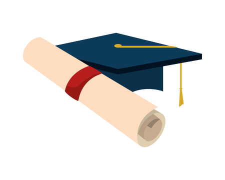 graduation certificate roll and hat vector illustration design