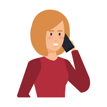 young woman with smartphone character vector illustration design