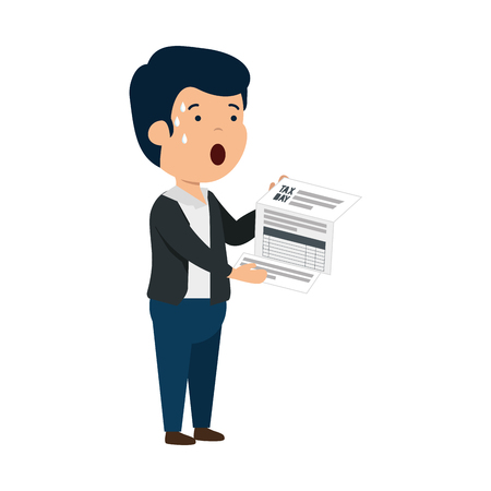 depressed man for money with tax document vector illustration design