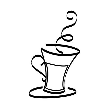 コーヒーカップドリンク孤立したアイコンベクトルイラストデザイン