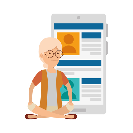 old woman in lotus position with smartphone vector illustration design Illustration