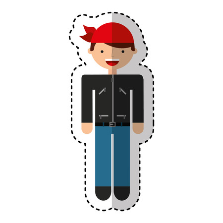 motorcyclist avatar character icon vector illustration design Çizim