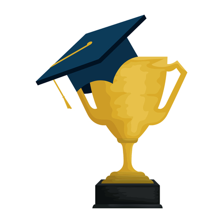 hat graduation with trophy cup vector illustration design