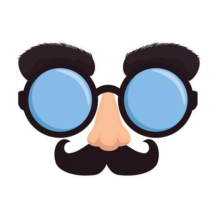 fools day mask glasses and mustache vector illustration design Vecteurs