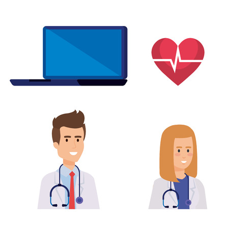 set laptop technology with doctors and heartbeat vector illustration
