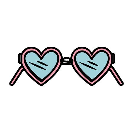 heart glasses fashion icon vector illustration design Vetores