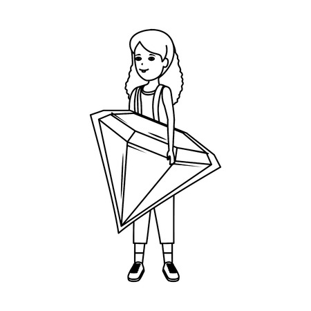 woman lifting diamond luxury vector illustration design Standard-Bild - 124202865