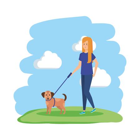 young woman walking with dog vector illustration design Ilustração
