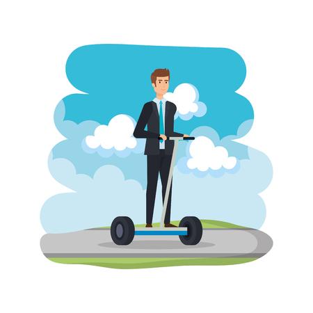 businessman in folding e-scooter on road vector illustration design