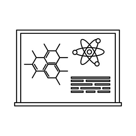 chalkboard with drawn molecules vector illustration design