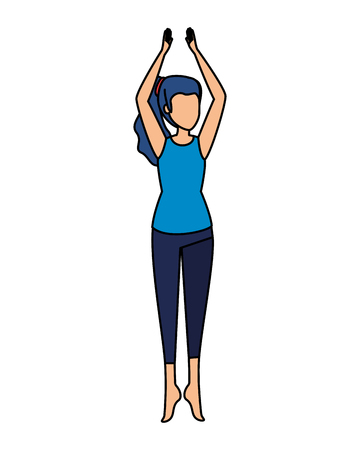 woman practicing yoga position vector illustration design