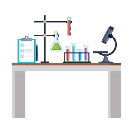 Escritorio de laboratorio, diseño de ilustraciones vectoriales iconos de lugar de trabajo Ilustración de vector