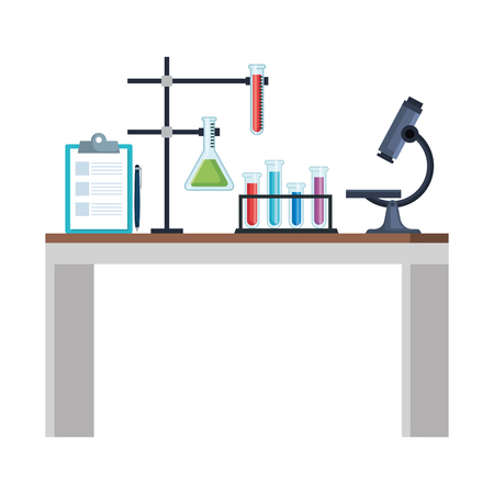 laboratory desk workplace icons vector illustration design