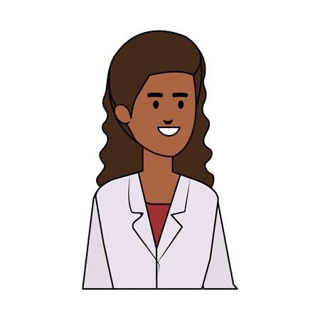 professional black female doctor avatar character vector illustration design