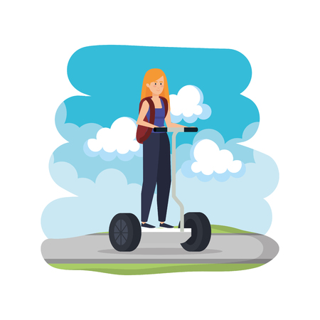 young woman in folding e-scooter on road vector illustration design