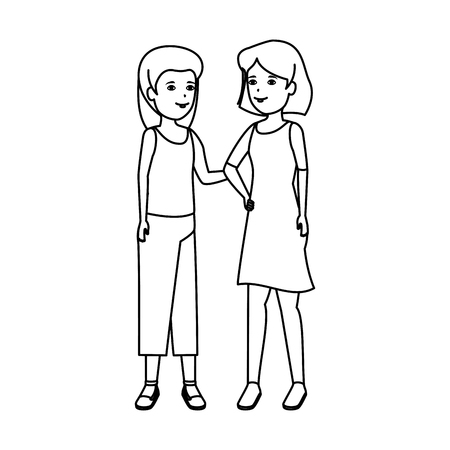 girls couple avatars characters vector illustration design Banque d'images - 124203745
