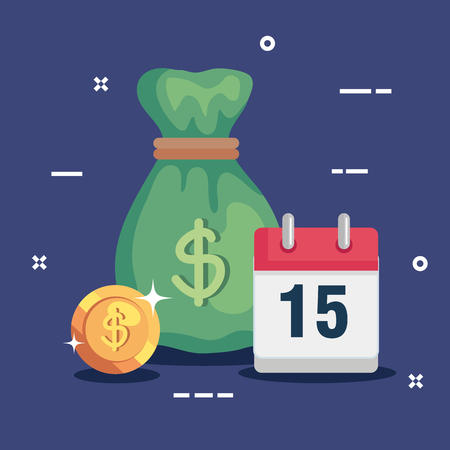 money bag with calendar and coin money vector illustration