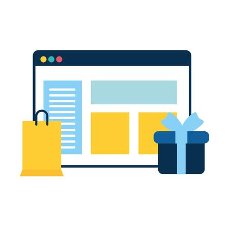 Plantilla de página web con regalo y bolsa de compras, diseño de ilustraciones vectoriales Ilustración de vector