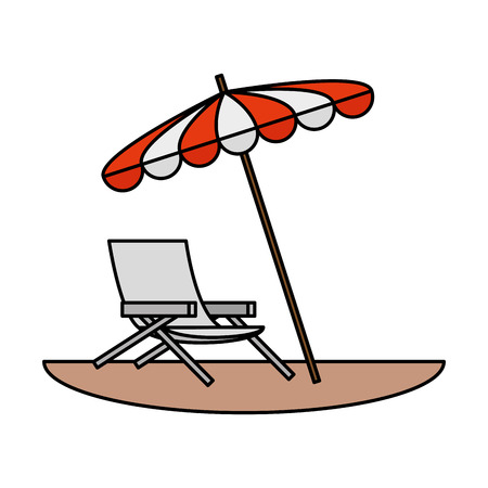 beach chair with umbrella scene vector illustration design