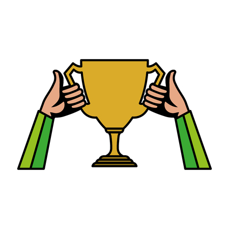 hands lifting trophy cup award vector illustration design 스톡 콘텐츠 - 124203797