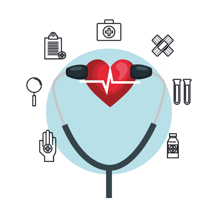 heart cardio iwith stethoscope and icons vector illustration design
