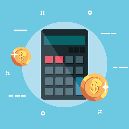 calculator finance accounting with coins money vector illustration