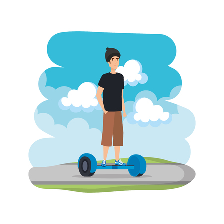 young man in hoverboard electric on road vector illustration design  イラスト・ベクター素材