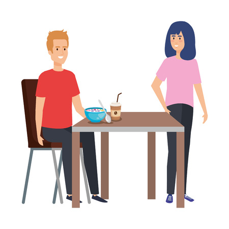 young couple eating in table characters vector illustration design