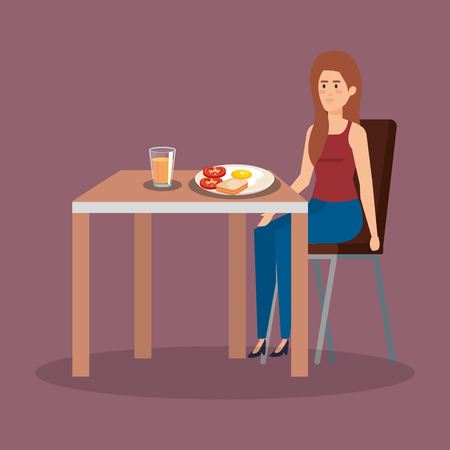 casual woman eating fried egg with orange juice vector illustration  イラスト・ベクター素材