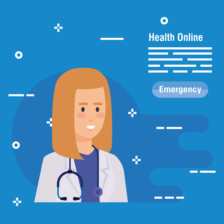 woman doctor with stethoscope diagnosis equipment vector illustration