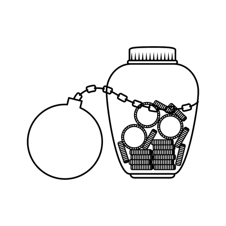 mason jar with coins and slave ball vector illustration design