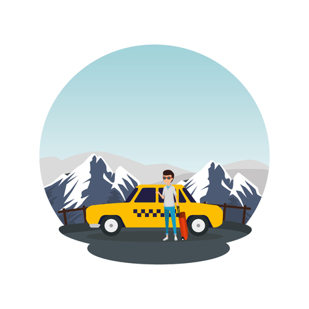 tourist man with suitcases and taxi character vector illustration design Standard-Bild - 124174480