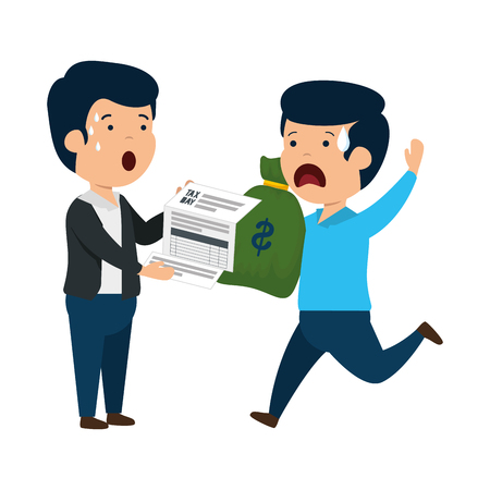 depressed men for money with tax document and bag vector illustration design Standard-Bild - 119756797