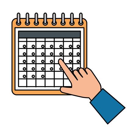 hand with calendar reminder vector illustration design