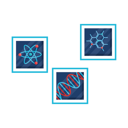 molekulare Struktur-DNA und Atomvektor-Illustrationsdesign